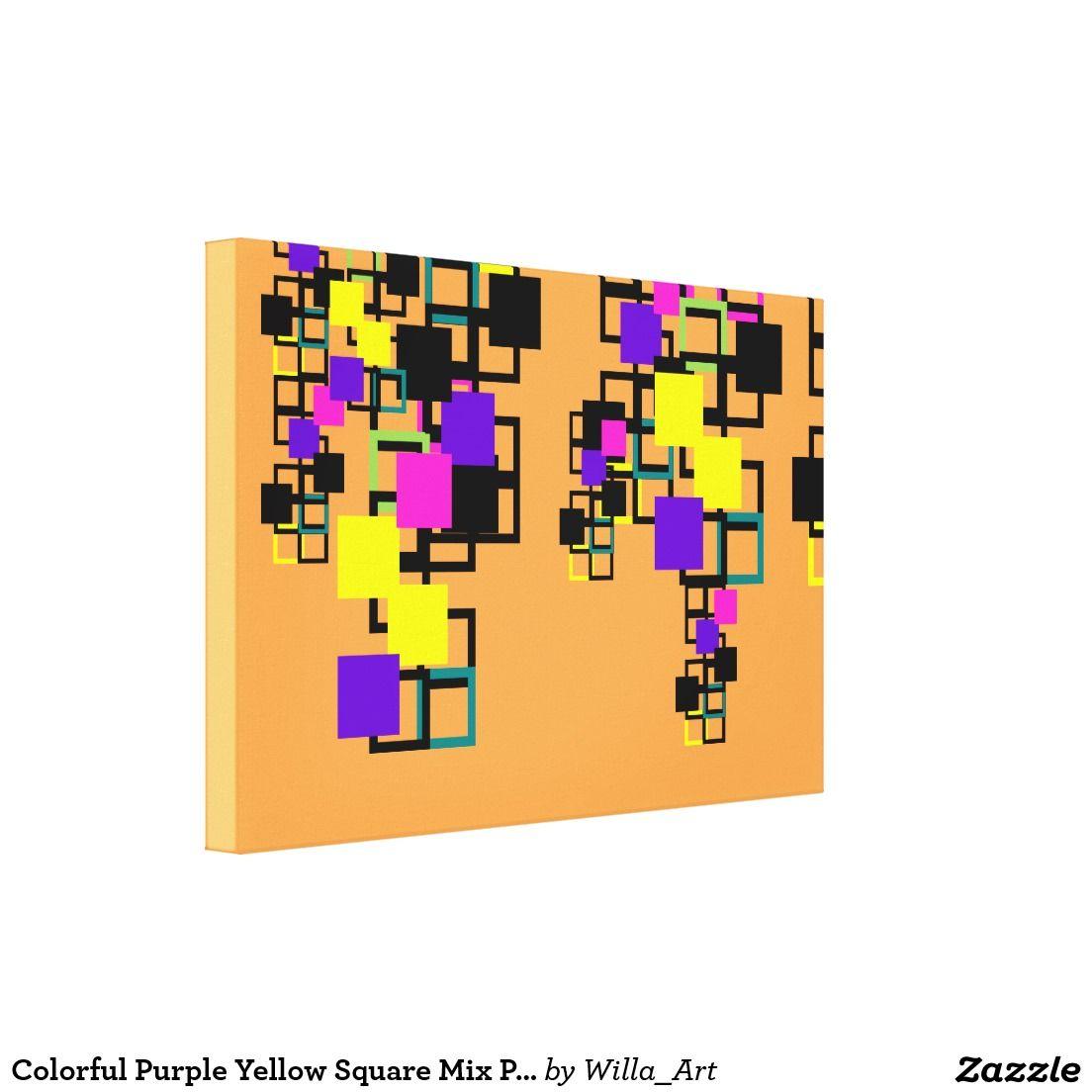 Colorful Purple Yellow Square Mix Pattern Canvas Yellow Canvas Art Patterns Canvas Canvas Art Prints