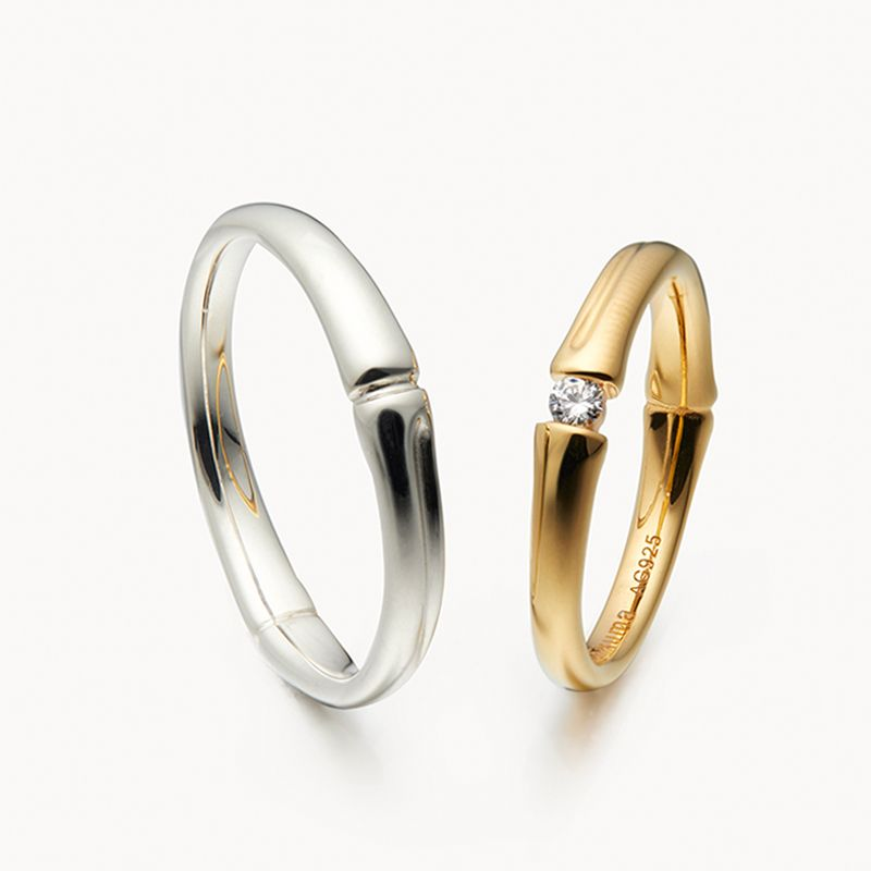 Original Design Couple S Bamboo Shape Promise Ring For Him And Her In 2020 Matching Couple Rings Promise Rings For Him Promise Rings