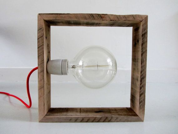 Industriële lamp van pallethout by SilasStore on Etsy