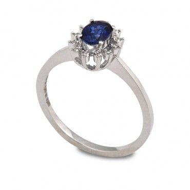 Δαχτυλίδι ροζέτα με οβάλ μπλε ζαφείρι  amp  διαμάντια από λευκόχρυσο Κ18  2af099528b5