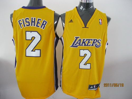 ... closeout adidas nba los angeles lakers 2 derek fisher swingman yellow  jersey 49850 3274a ... 95c00682b