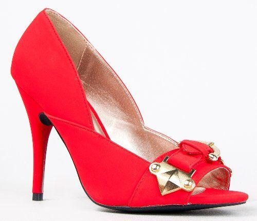 56 Buckle Detail Open Toe High Heel Pump Qupid Online Shopping