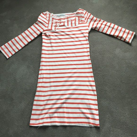 Red and white striped dress. Bought this dress at a trendy boutique on St Barths. Very pretty detail around the neck. 32 inches from shoulder to hem. Day Birger et Mikklesen Dresses Mini
