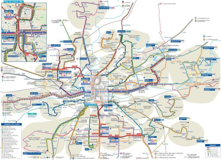 Rennes transport map Maps Pinterest