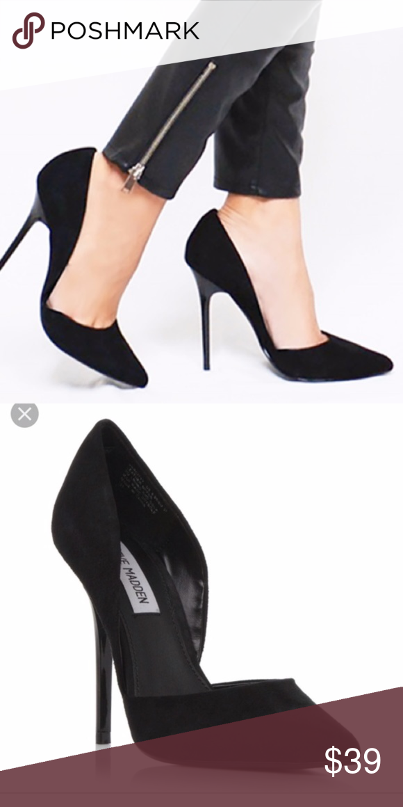 7bec6709d84 New Steve Madden Varcityy Pointy Toe Pump, 7.5 New Black Suede The ...
