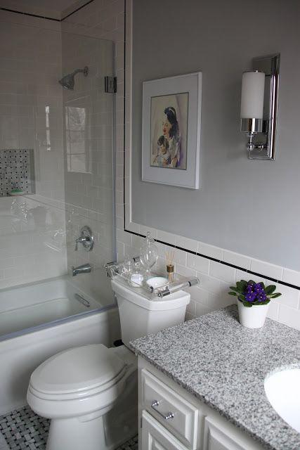 Bathroom White Subway Tile Black Accent Grey Paint Bathroom