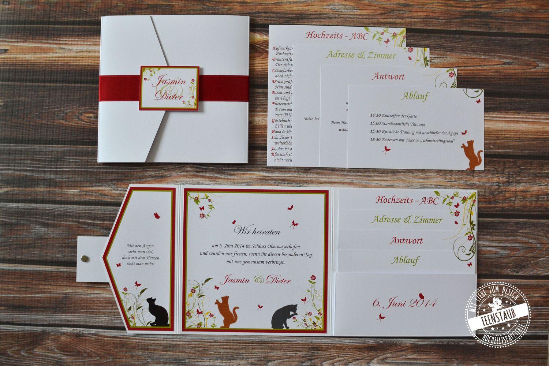 Pocketeinladung Mit Katzen   Individuelle Und Persönliche Gestaltung  Hochzeitseinladung   Feenstaub.at