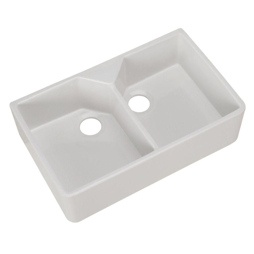 Pegasus Farmhouse Apron Front Fireclay 32 In Double Bowl Kitchen Sink In White Double Bowl Kitchen Sink Farmhouse Sink Kitchen Sink