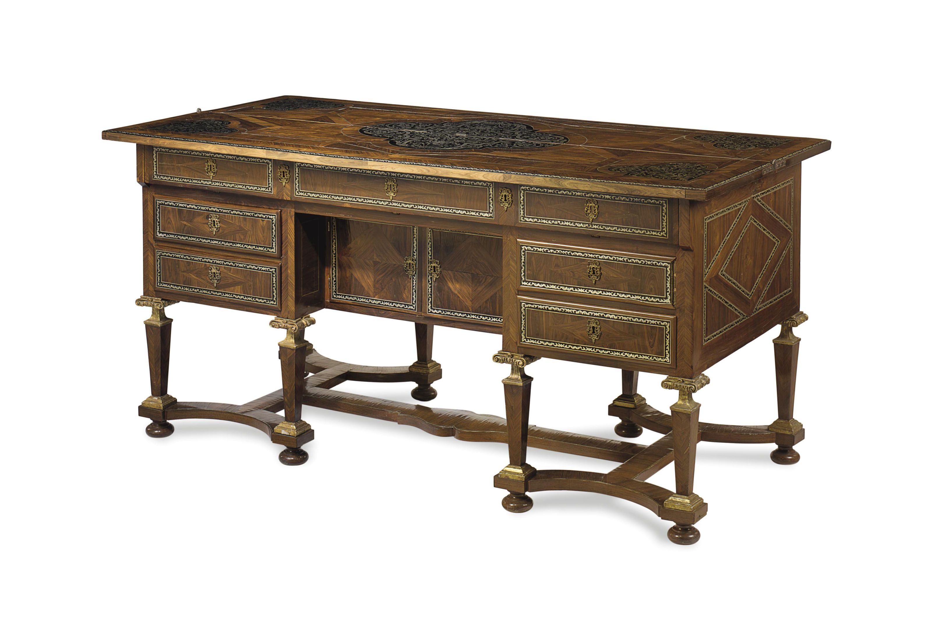 C1680 A Louis Xiv Pewter Inlaid Kingwood Ebony And Marquetry Bureau Mazarin Circa 1680 Price Realised Usd 25 000 French Furniture Furniture Kingwood