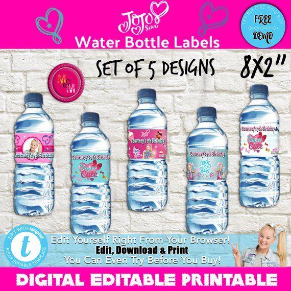 931b66bd68 Editable Jo Jo Siwa Water Bottle Printable, Personalized Jo Jo Siwa bottle  wrappers- Printable water