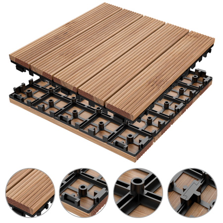 Easyfashion 12 X 12 11 Pcs Patio Pavers Interlocking Wood Tiles Wood Flooring Tiles Indoor Outdoor For Patio Garden Deck Poolside Walmart Com Paver Patio Outdoor Patio Decor Patio Pavers Design