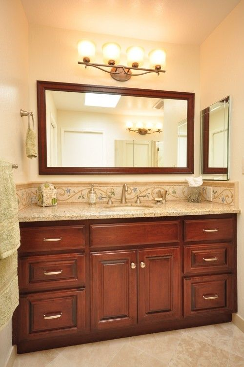 Cherry Vanity For The Home Dark Cabinets Bathroom