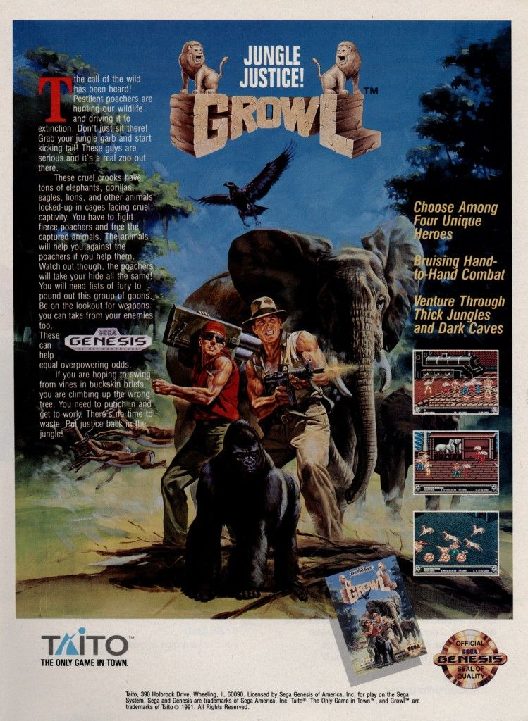 Taito's Growl (or Runark in its original Japanese release) is a rather odd take on the arcade brawler, given that you essentially play as an forest ranger who deals with poachers with a mix of fisticuffs and explosives. The home port for the Mega Drive lost a bit of the luster of the arcade version, unfortunately.