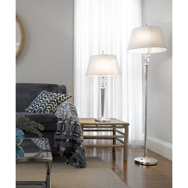 Ava large table lamp in silver with white shade