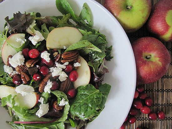 Apple Cranberry Pecan Salad with Goat Cheese and Balsamic Vinaigrette