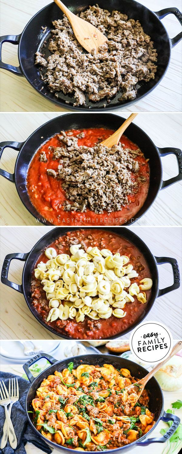 Photo of One Skillet Italian Sausage Tortellini Dinner · Easy Family Recipes