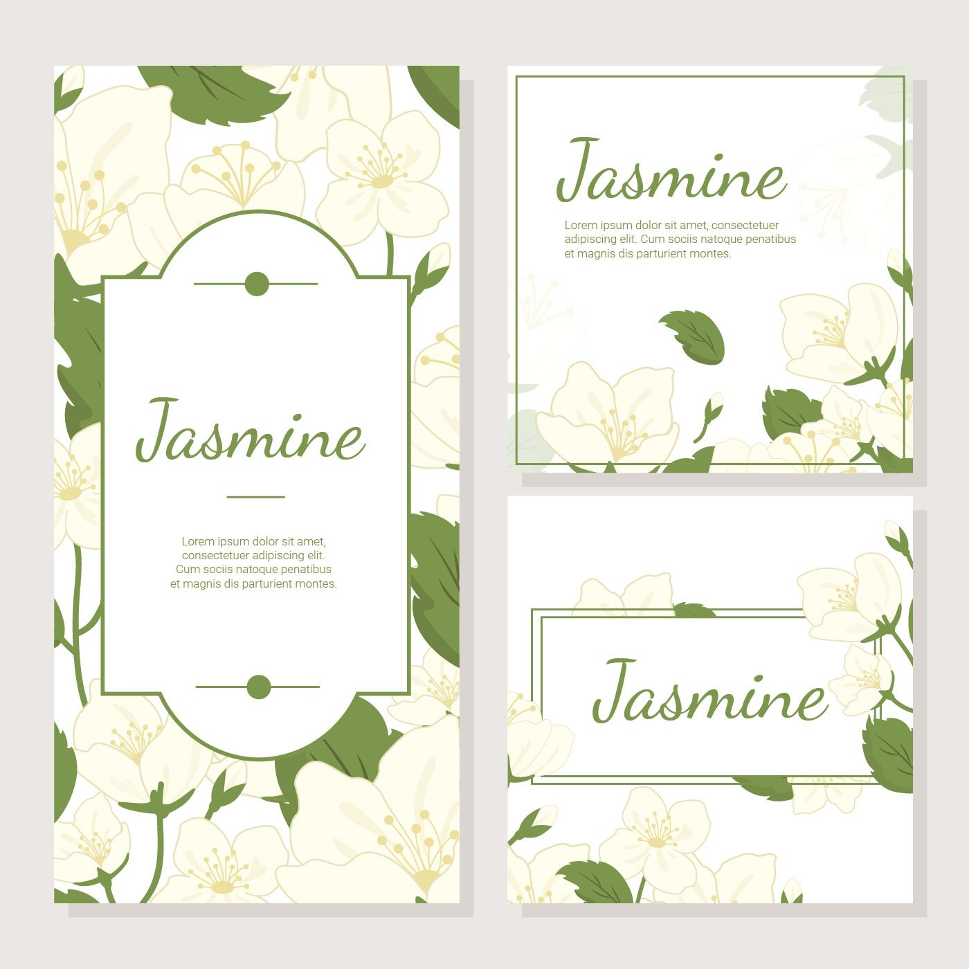 Wedding Hairstyle With Jasmine Flower: Invitation Card With Jasmine Flower Vector In 2019