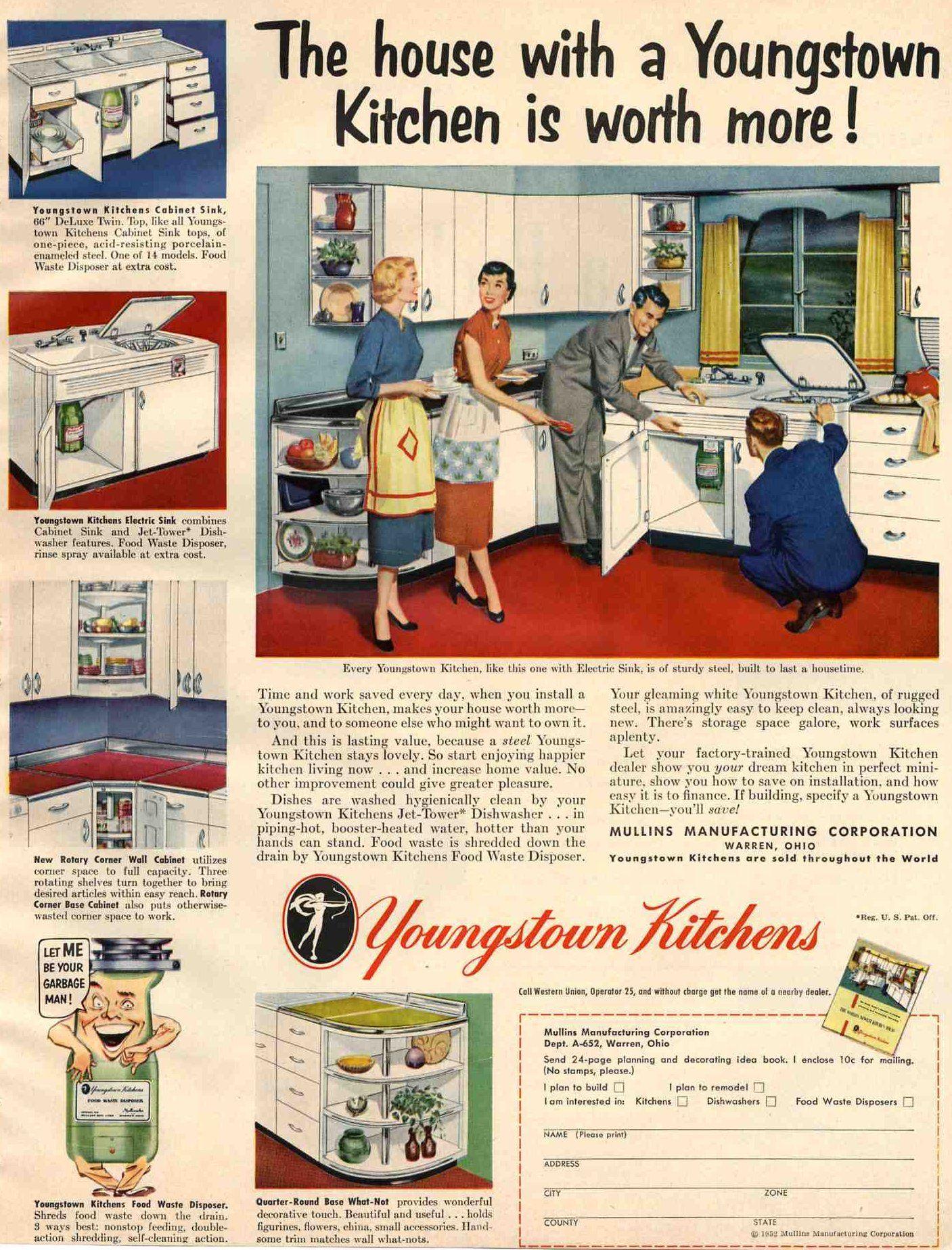 1950\'s kitchens and some bathrooms, too | Ama de casa retro, Casa ...
