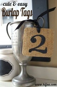 Ideas : cute and easy burlap tags - use scraps of burlap and a little glue to create these tags that will hold up & not fray!