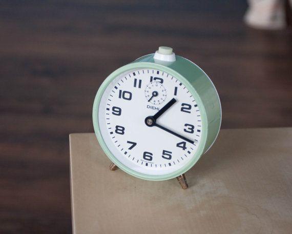 Mint Green Alarm Clock Diehl Vintage Mechanical German Clock