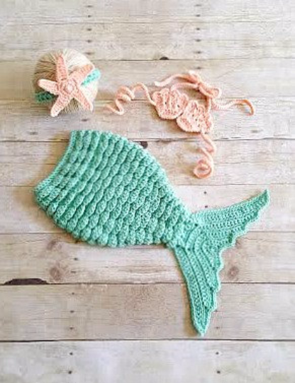 f82106c056c Crochet Baby Mermaid Tail Shell Bikini Top Starfish Headband Photography  Prop Set Baby Infant Toddler Handmade Girl Baby Shower Gift Costume