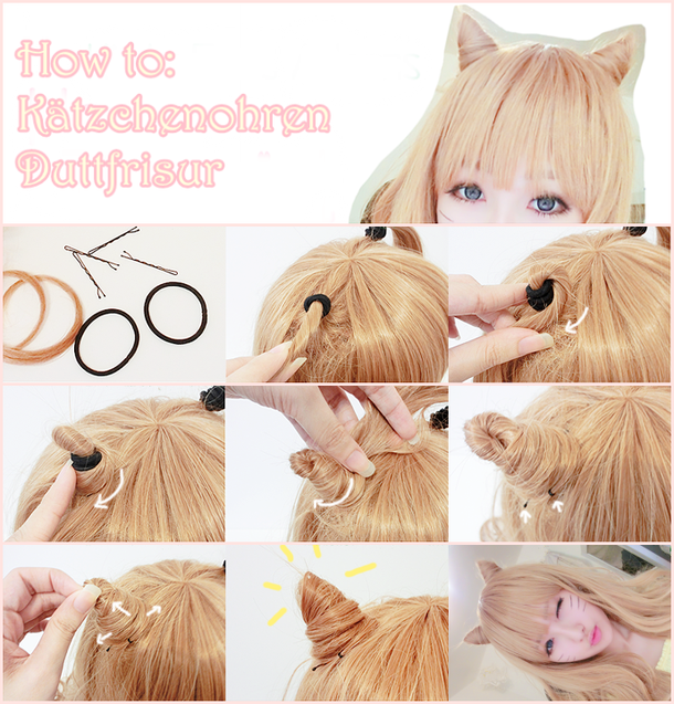 Hairstyle Costum Cute Kitty Halloween Ears Girl Kawaii Hairstyles Hair Tutorial Hair Horn