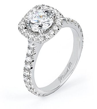 From Michael M. Collection Handcrafted U-set platinum and diamond Engagement Ring with U-set halo and diamond details below carriage! Also available in 18k white, yellow
