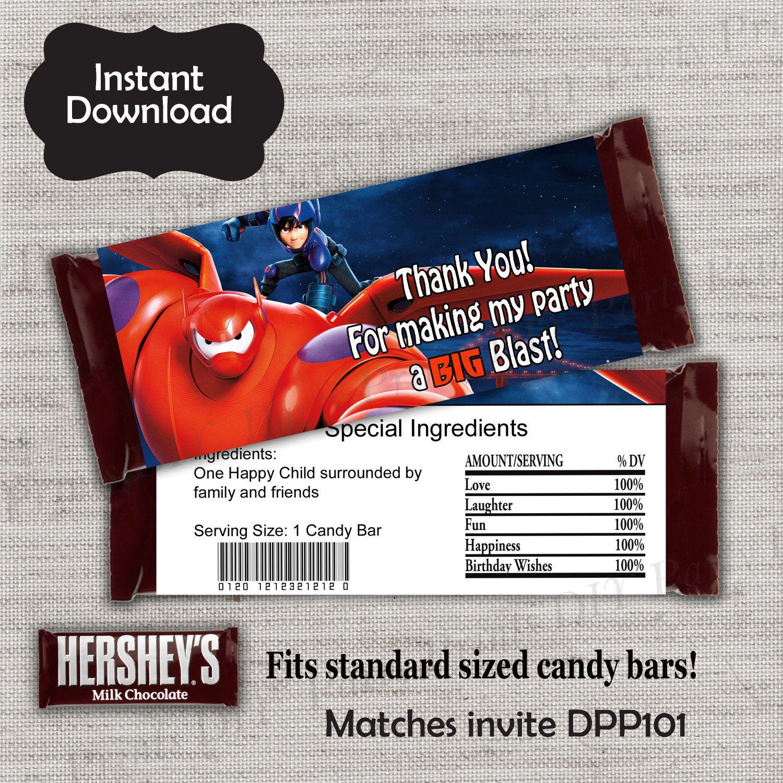 Big Hero 6 Candy Bar Wrapper Baymax Candy Wrapper Hiro