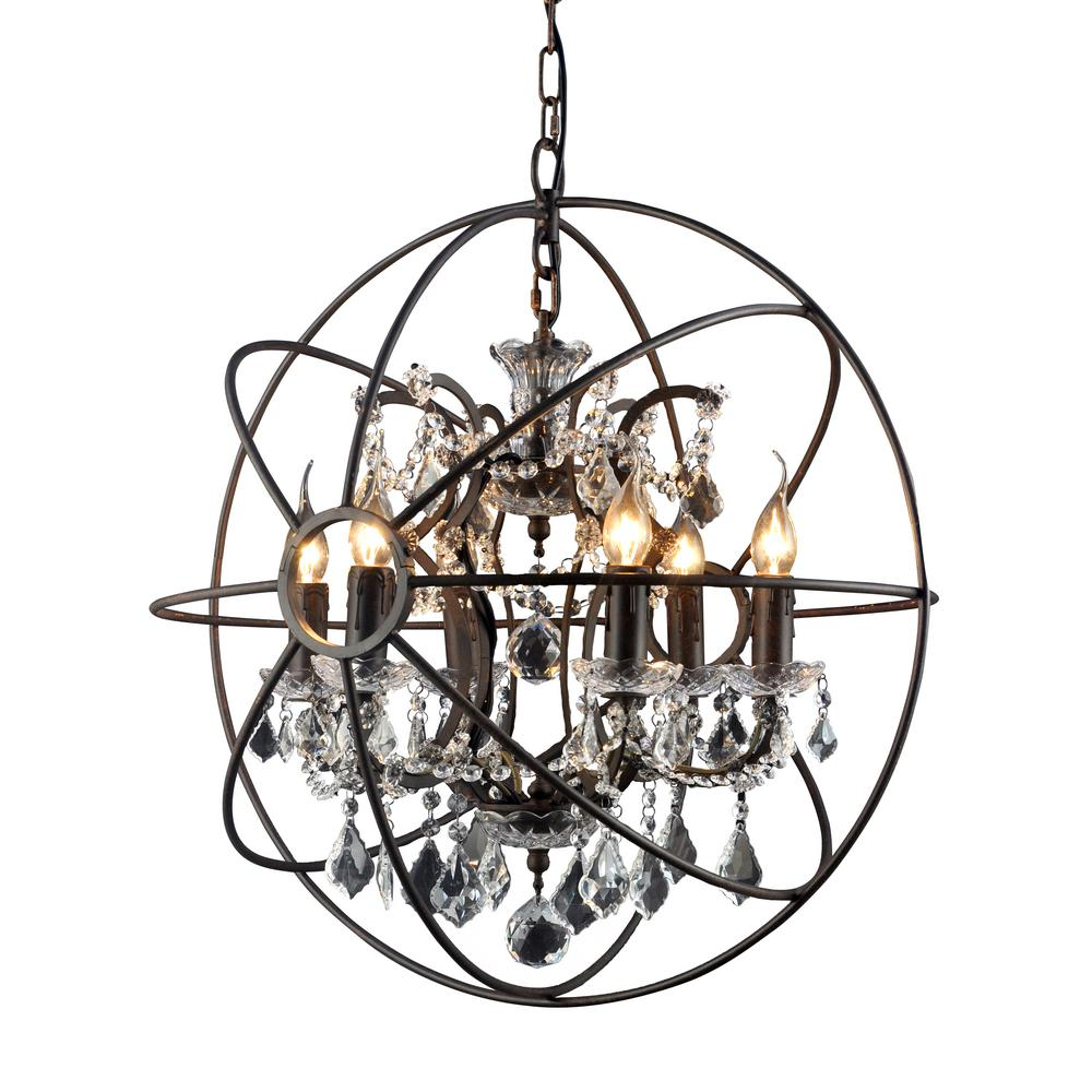 Hannah 6 Light Rustic Black Chandelier Lz27246 The Home Depot In 2020 Orb Chandelier Rustic Chandelier Rustic Lamps