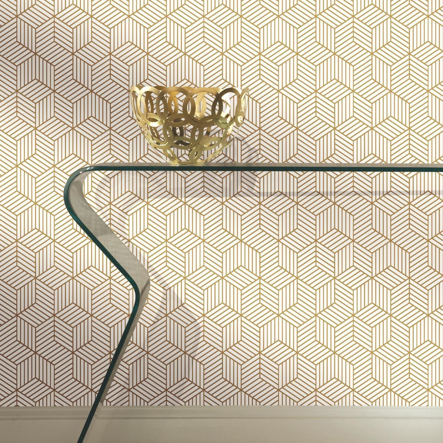 Roommates Rmk10704wp Stripped Hexagon Peel And Stick Wallpaper 20 5 X 16 5 Feet White G Peel And Stick Wallpaper Mid Century Modern Wallpaper Hexagon Wallpaper