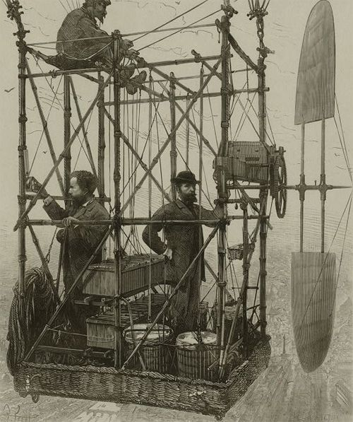 Tissandier brothers and unidentified man in the basket of their airship demonstrating an electric navigational system featuring a propeller. c1880-1900. Via Library of Congress.