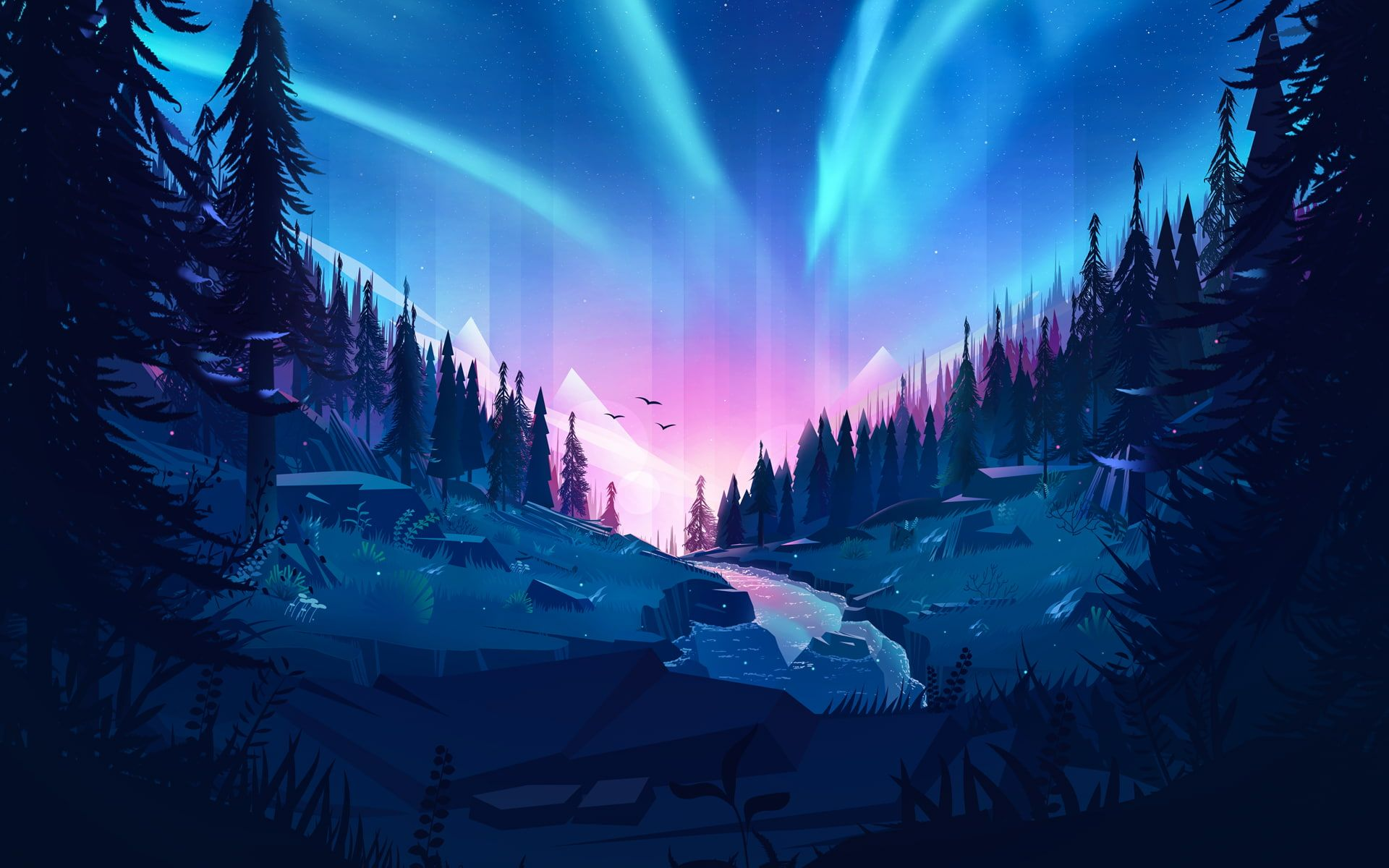 Auroral Forest 1080P wallpaper hdwallpaper desktop w