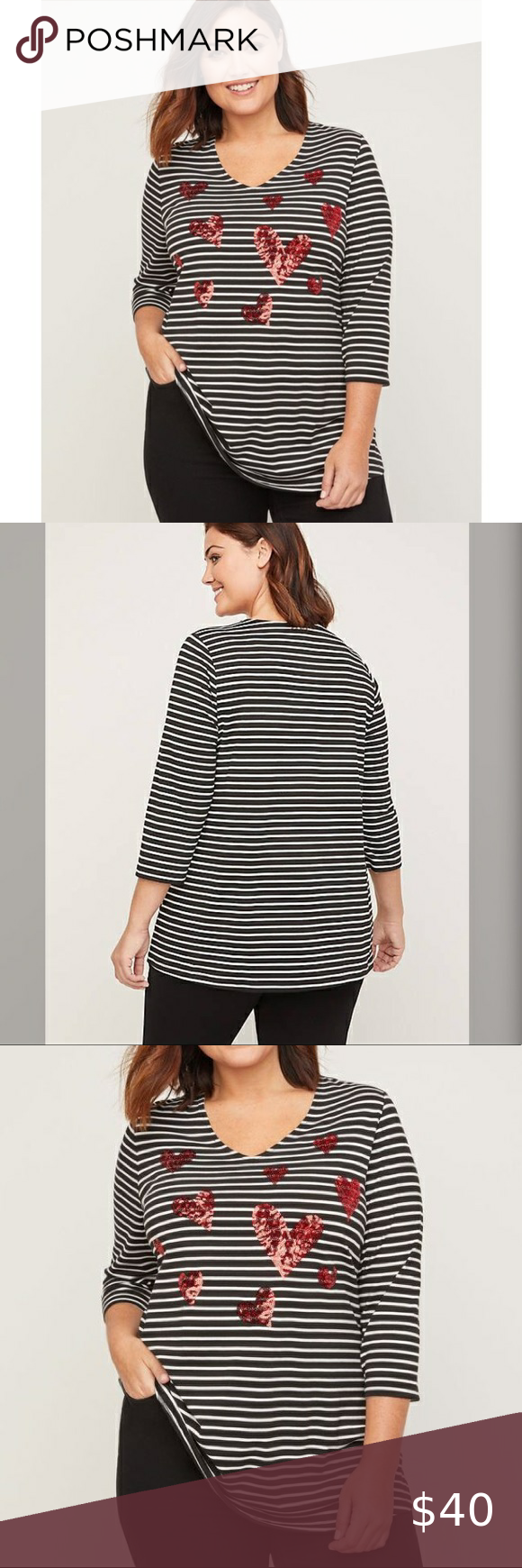 Photo of PLUS SIZE Sequin Hearts Striped Tee CATHERINES / Sequin Heart Striped Tee US PLU…