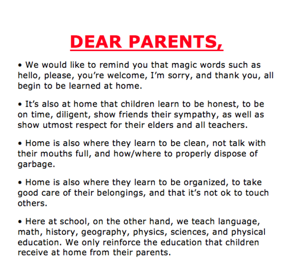School Wants Parents To Take Responsibility - Their Poster
