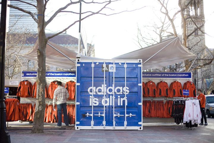 b7f29ab4ed612 adidas shipping container pop up at Boston Marathon, by Boxman Studios