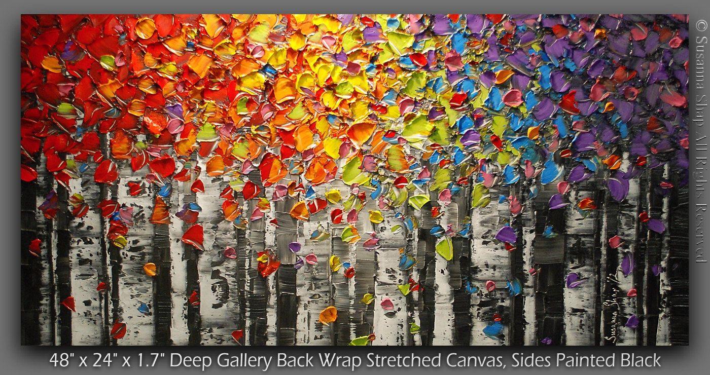 Bouleau Arbre Paysage Peinture à L Huile Peinture Abstraite