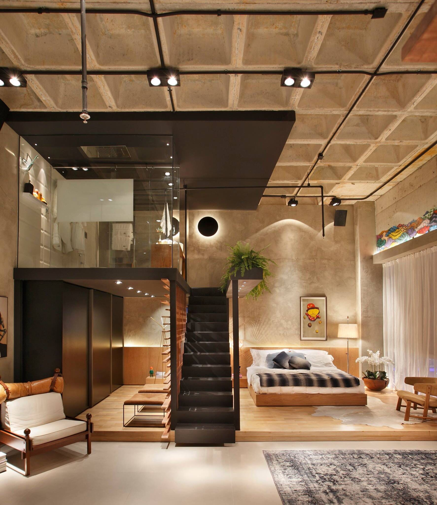 Small Upstairs Loft Decorating Ideas: Industrial Bedroom Design