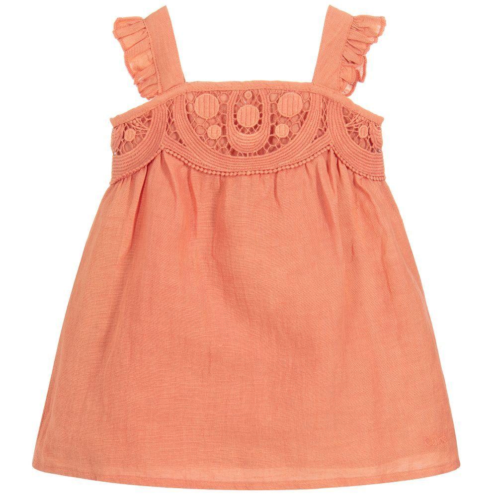 38579ad6984b3 Girls Coral Linen Dress | Chole-Girls | Linen dresses, Girls dresses ...