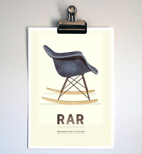 Chaise Eames Imprimer Rétro Charles Eames Chaise Illustration Mid - Fauteuil rocking chair design