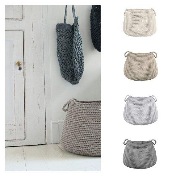 Hecho por encargo gran cesta beige cesta de almacenamiento | Crochet ...