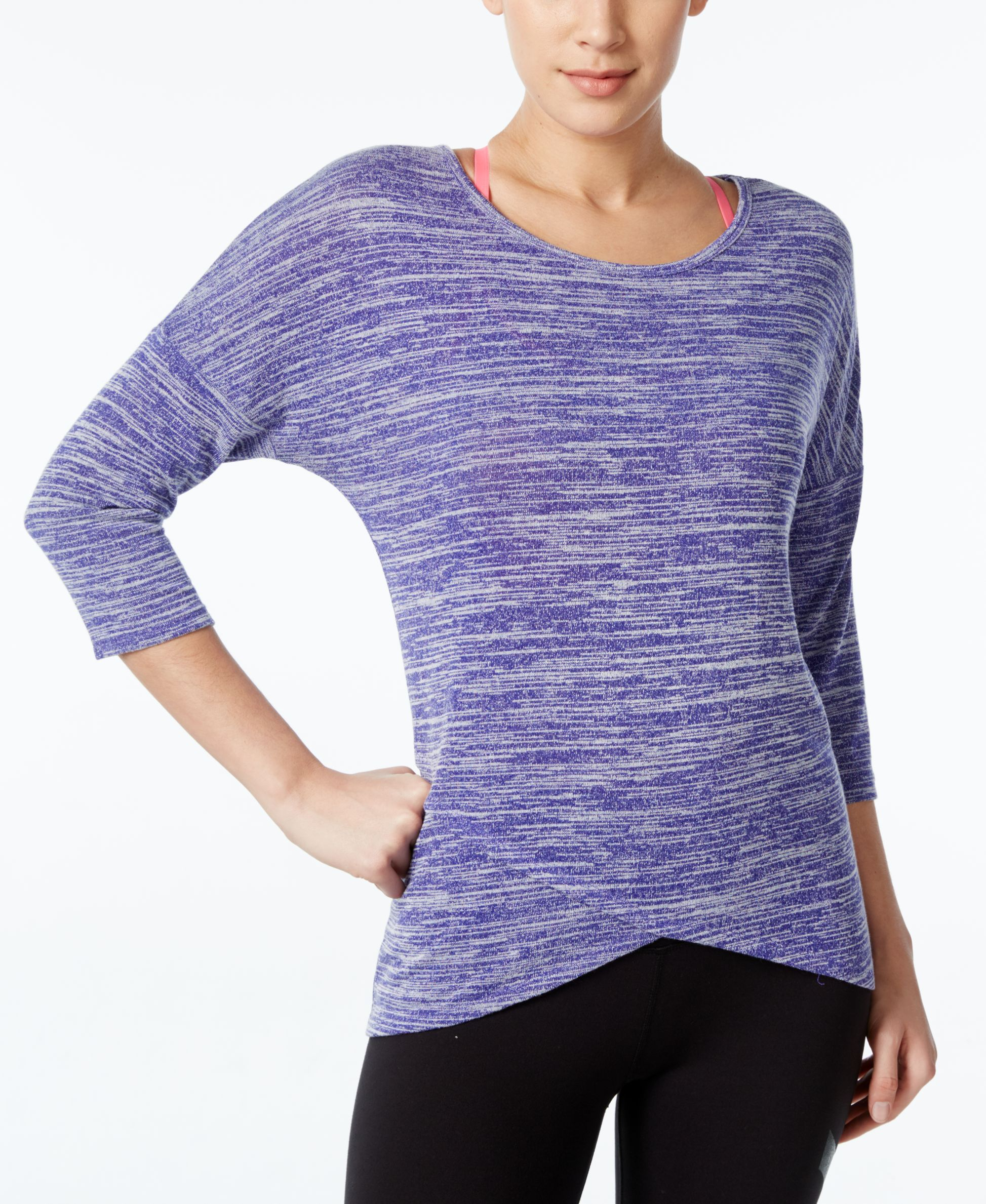 Ideology Space-Dyed Three-Quarter Sleeve Top, Only at Macy's