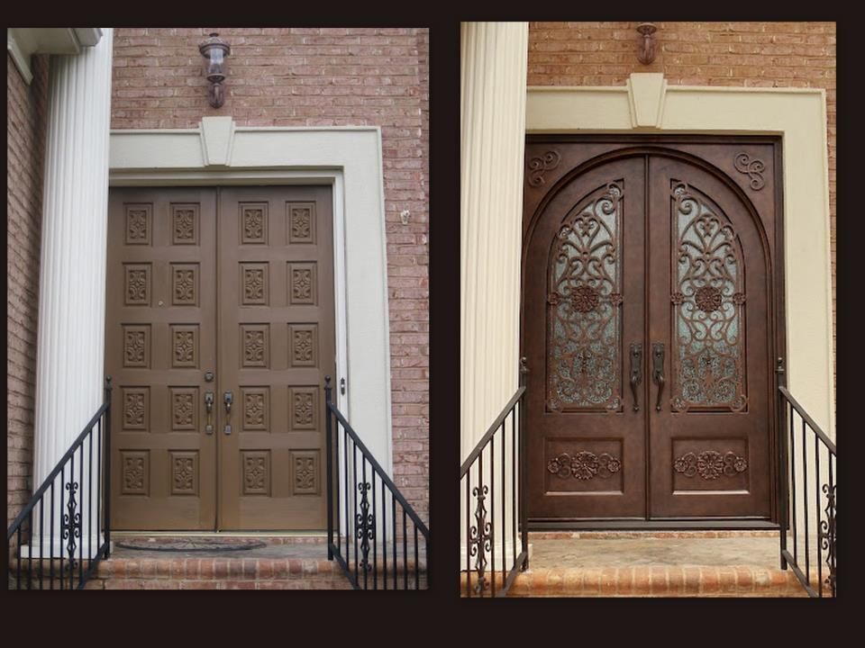 These homeowners wanted an arch top door but had a square for Arch door design