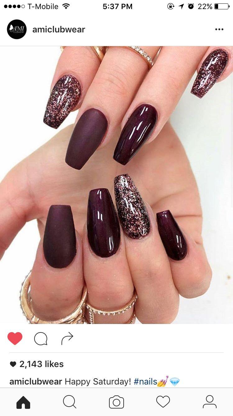 Uñas Color Vino Hair Nails Cute Acrylic Nails Autumn Nails