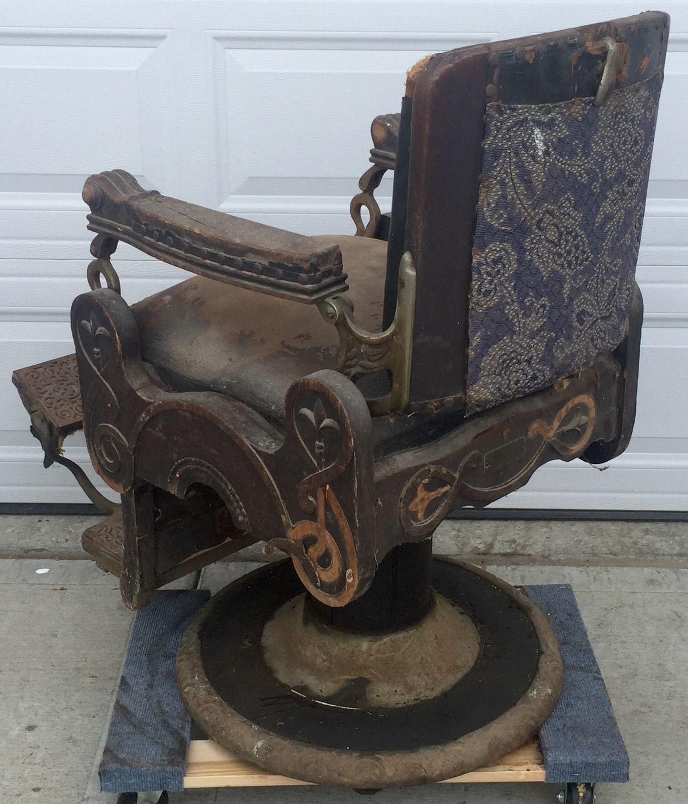 Rare Antique Oak Congress Style Koken Barber Shop Chair 1901 Working  Hydraulics - Rare Antique Oak Congress Style Koken Barber Shop Chair 1901 Working