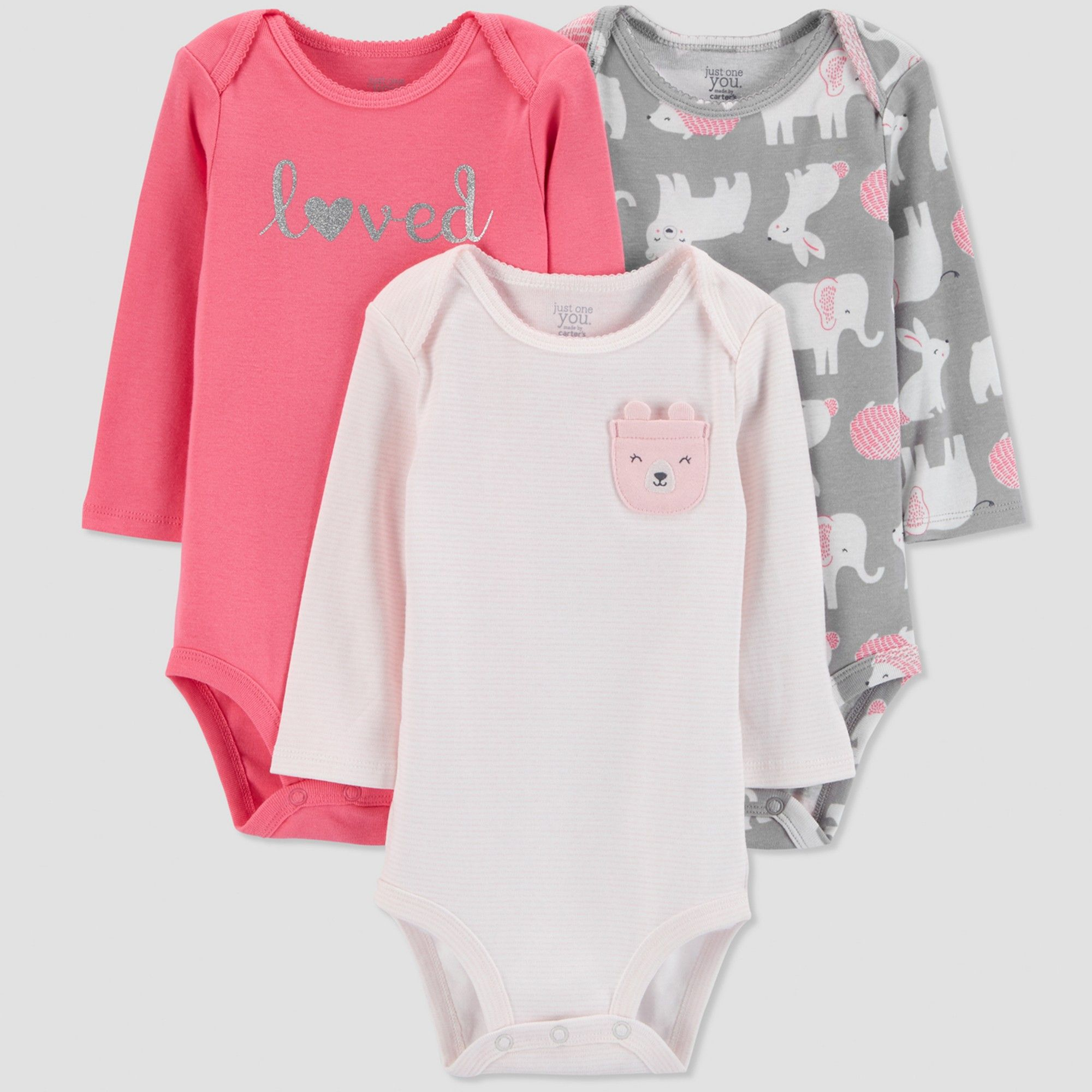bfd88d526a68 Baby Girls  3pk Long sleeve Love Bodysuit - Just One You made by carter s  Pink Newborn