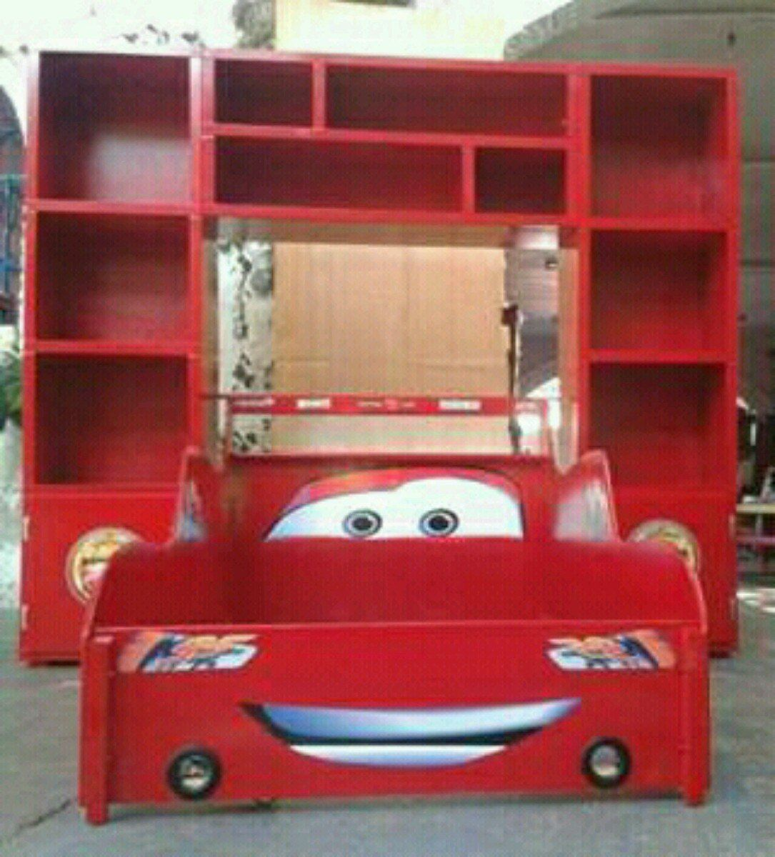 Cama Rayo Mcqueen Cama Carro Cars Recamara Infantil Librero  # Muebles Sion Bogota