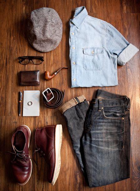 denim oxford, jeans, gray news boy, oxblood shoes & a pipe