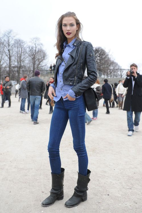 ... wear tall biker boots. Karlie Kloss Street Style Skinny Jeans Leather  Jacket And Boots e8385e85adb9