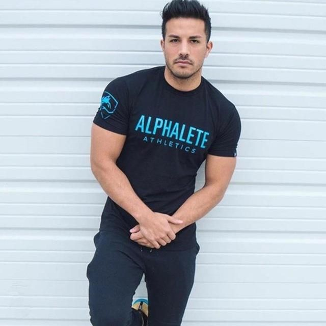 06408dcb09f New Men Alphalete Letter Printed Muscle T-shirt Short Sleeve Muscle  Bodybuilding Tees Tops