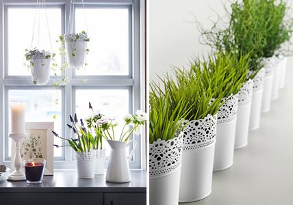 ▷ Dekoideen für das Fenster - Vasen, Windlicher und Stoffe